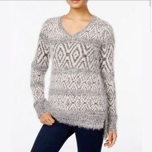 Style & Co. Gray And White Fuzzy Sweater Size PM
